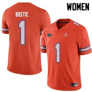 Jordan Brand Women #1 Jonathan Bostic Florida Gators College Football Jerseys Orange 728889-833