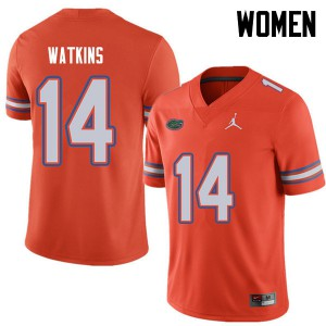 Jordan Brand Women #14 Justin Watkins Florida Gators College Football Jerseys Orange 287551-406