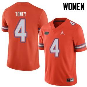 Jordan Brand Women #4 Kadarius Toney Florida Gators College Football Jerseys Orange 951325-714