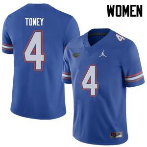 Jordan Brand Women #4 Kadarius Toney Florida Gators College Football Jerseys Royal 431337-864