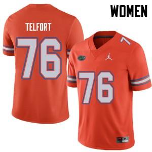Jordan Brand Women #76 Kadeem Telfort Florida Gators College Football Jerseys Orange 402564-194