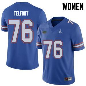 Jordan Brand Women #76 Kadeem Telfort Florida Gators College Football Jerseys Royal 992705-781