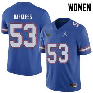 Jordan Brand Women #53 Kavaris Harkless Florida Gators College Football Jerseys Royal 692024-769