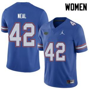 Jordan Brand Women #42 Keanu Neal Florida Gators College Football Jerseys Royal 188936-380