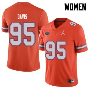 Jordan Brand Women #95 Keivonnis Davis Florida Gators College Football Jerseys Orange 201716-770