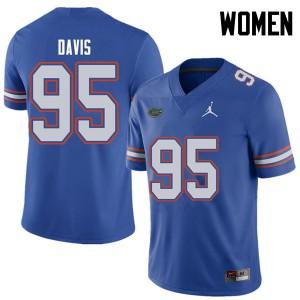 Jordan Brand Women #95 Keivonnis Davis Florida Gators College Football Jerseys Royal 580578-803