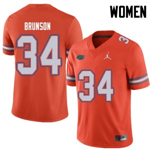 Jordan Brand Women #34 Lacedrick Brunson Florida Gators College Football Jerseys Orange 746656-440