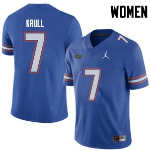 Jordan Brand Women #7 Lucas Krull Florida Gators College Football Jerseys Royal 807024-323