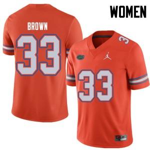 Jordan Brand Women #33 Mack Brown Florida Gators College Football Jerseys Orange 176547-797