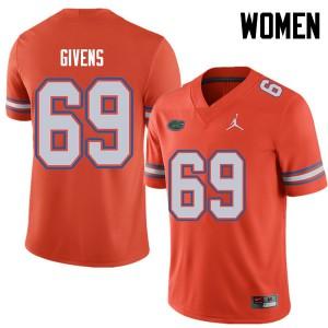 Jordan Brand Women #69 Marcus Givens Florida Gators College Football Jerseys Orange 530623-687