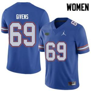 Jordan Brand Women #69 Marcus Givens Florida Gators College Football Jerseys Royal 566568-566