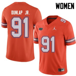 Jordan Brand Women #91 Marlon Dunlap Jr. Florida Gators College Football Jerseys Orange 861078-855