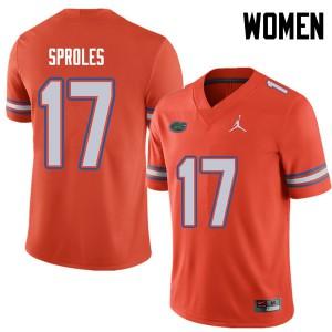 Jordan Brand Women #17 Nick Sproles Florida Gators College Football Jerseys Orange 751393-641