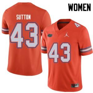 Jordan Brand Women #43 Nicolas Sutton Florida Gators College Football Jerseys Orange 832121-260