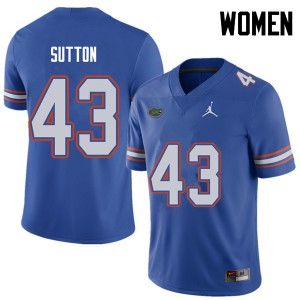 Jordan Brand Women #43 Nicolas Sutton Florida Gators College Football Jerseys Royal 740817-963