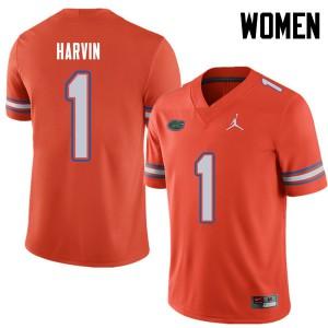 Jordan Brand Women #1 Percy Harvin Florida Gators College Football Jerseys Orange 453037-378