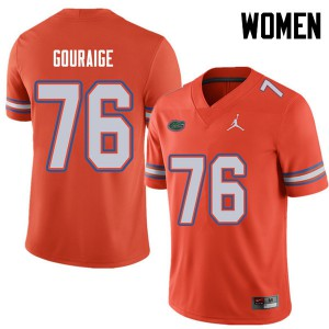 Jordan Brand Women #76 Richard Gouraige Florida Gators College Football Jerseys Orange 736228-978