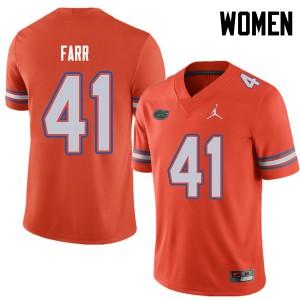 Jordan Brand Women #41 Ryan Farr Florida Gators College Football Jerseys Orange 665927-577