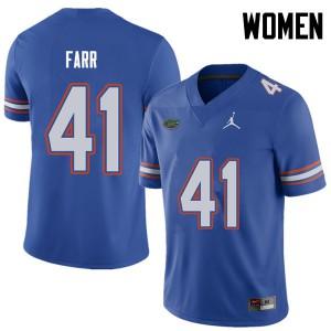 Jordan Brand Women #41 Ryan Farr Florida Gators College Football Jerseys Royal 998549-835