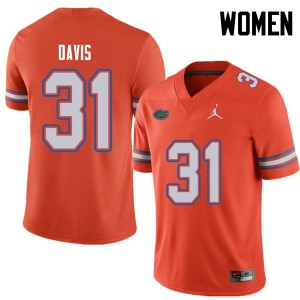 Jordan Brand Women #31 Shawn Davis Florida Gators College Football Jerseys Orange 612726-383