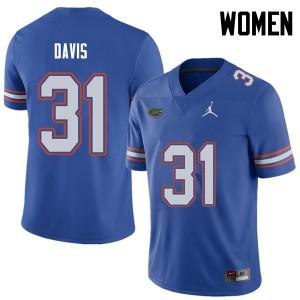 Jordan Brand Women #31 Shawn Davis Florida Gators College Football Jerseys Royal 259086-922
