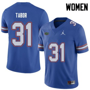 Jordan Brand Women #31 Teez Tabor Florida Gators College Football Jerseys Royal 819486-774