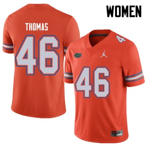 Jordan Brand Women #46 Will Thomas Florida Gators College Football Jerseys Orange 892312-755