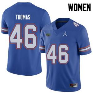 Jordan Brand Women #46 Will Thomas Florida Gators College Football Jerseys Royal 991550-471