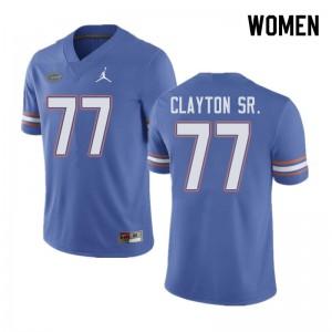 Jordan Brand Women #77 Antonneous Clayton Sr. Florida Gators College Football Jerseys Blue 907898-778