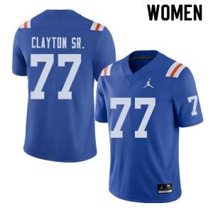Jordan Brand Women #77 Antonneous Clayton Sr. Florida Gators Throwback Alternate College Football Jerseys 779712-332