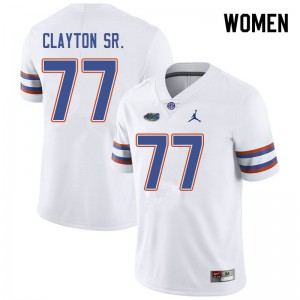 Jordan Brand Women #77 Antonneous Clayton Sr. Florida Gators College Football Jerseys White 962985-677