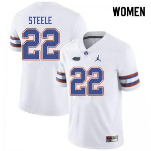 Jordan Brand Women #22 Chris Steele Florida Gators College Football Jerseys White 578310-226