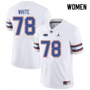 Jordan Brand Women #78 Ethan White Florida Gators College Football Jerseys White 421725-345