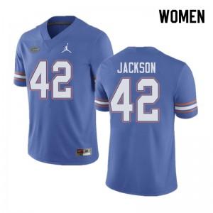 Jordan Brand Women #42 Jaylin Jackson Florida Gators College Football Jerseys Blue 973103-368
