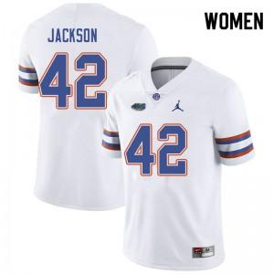 Jordan Brand Women #42 Jaylin Jackson Florida Gators College Football Jerseys White 421028-822