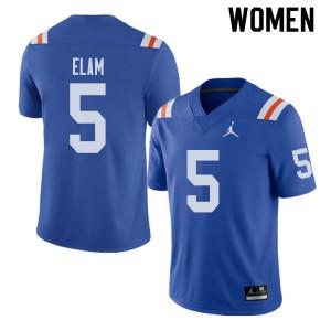 Jordan Brand Women #5 Kaiir Elam Florida Gators Throwback Alternate College Football Jerseys Royal 496584-314
