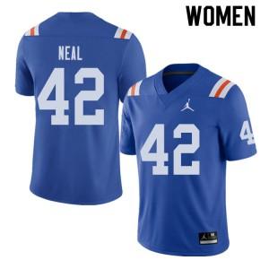 Jordan Brand Women #42 Keanu Neal Florida Gators Throwback Alternate College Football Jerseys Royal 403317-747