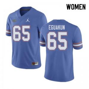 Jordan Brand Women #65 Kingsley Eguakun Florida Gators College Football Jerseys Blue 651156-194