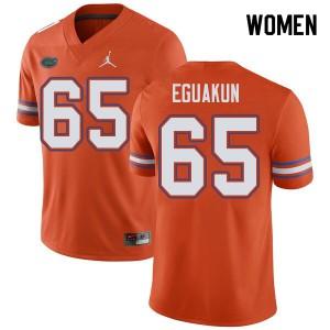 Jordan Brand Women #65 Kingsley Eguakun Florida Gators College Football Jerseys Orange 315396-280