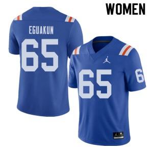 Jordan Brand Women #65 Kingsley Eguakun Florida Gators Throwback Alternate College Football Jerseys 119544-430