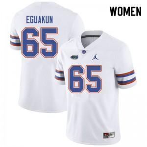Jordan Brand Women #65 Kingsley Eguakun Florida Gators College Football Jerseys White 497962-831