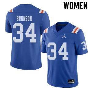 Jordan Brand Women #34 Lacedrick Brunson Florida Gators Throwback Alternate College Football Jerseys 320717-432