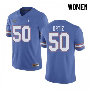 Jordan Brand Women #50 Marco Ortiz Florida Gators College Football Jerseys Blue 536632-435