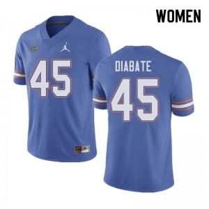 Jordan Brand Women #45 Mohamoud Diabate Florida Gators College Football Jerseys Blue 885809-924