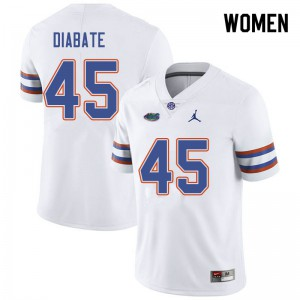 Jordan Brand Women #45 Mohamoud Diabate Florida Gators College Football Jerseys White 327917-964