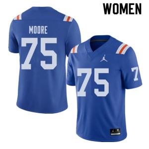 Jordan Brand Women #75 T.J. Moore Florida Gators Throwback Alternate College Football Jerseys Royal 437214-375