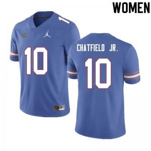 Women #10 Andrew Chatfield Jr. Florida Gators College Football Jerseys Blue 461316-298