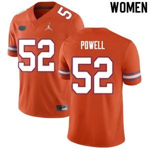 Women #52 Antwuan Powell Florida Gators College Football Jerseys Orange 469075-629