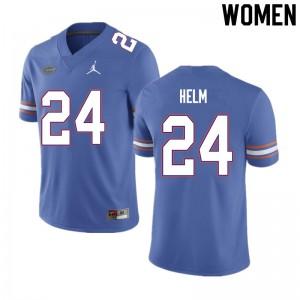 Women #24 Avery Helm Florida Gators College Football Jerseys Blue 999478-915