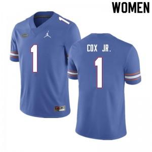 Women #1 Brenton Cox Jr. Florida Gators College Football Jerseys Blue 386694-480